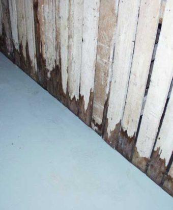 Kellarivarastossa putkivuoto on kastellut kellarikomeroiden alaosia.
